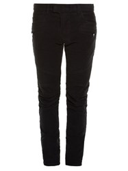 Balmain Biker Striped Side Skinny Jeans Black