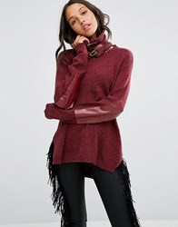One Teaspoon Grandview Jumper With Buckled Neck Bordeaux Red