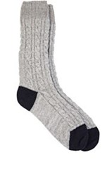 Corgi Cable Knit Mid Calf Socks Grey