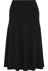 Rosetta Getty Ribbed Merino Wool Midi Skirt Black