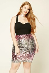Forever 21 Plus Size Sequin Skirt Silver Pink