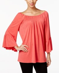 Cable And Gauge Off The Shoulder Peasant Top Grenadine
