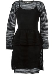 Missoni Sheer Ribbed Peplum Dress Black