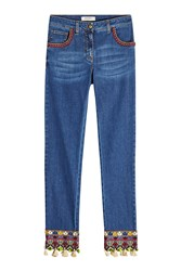 Etro Slim Jeans With Embroidery And Tassels Blue