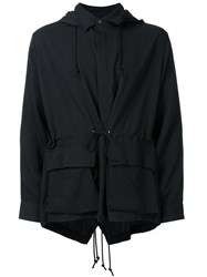 Christian Dada Patch Pocket Hooded Jacket Black