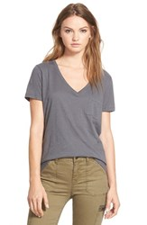 Madewell Women's 'Whisper' Cotton V Neck Pocket Tee Thunder Grey