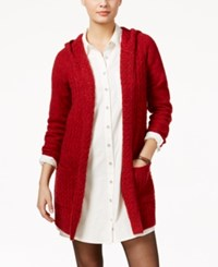 G.H. Bass And Co. Hooded Open Front Cardigan Classic Red