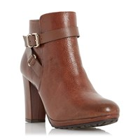 Dune Puggy Strap And Buckle Ankle Boots Tan