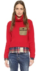 Dsquared Turtleneck Sweater Blue Red