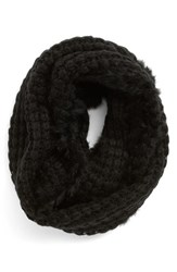 Women's La Fiorentina Infinity Scarf With Genuine Rabbit Fur Fringe Black