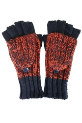 Mixed Knit Covertable Gloves Navy Blue