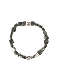 King Baby Studio Five Square Stingray Effect Beaded Bracelet Grey