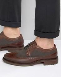 Dune Bongle Leather Derby Brogue Shoes Brown