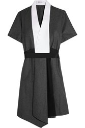Carven Crepe And Chiffon Paneled Wool Felt Mini Dress Charcoal