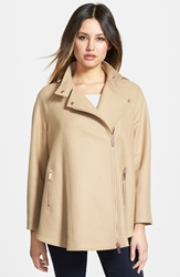 Ted Baker Asymmetrical Zip Wool Blend Cape Coat Taupe