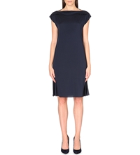Armani Collezioni Boat Neck Stretch Silk Dress Navy