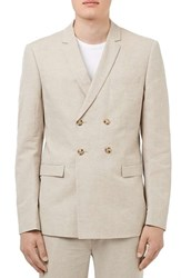Topman Men's Skinny Fit Cotton And Linen Double Breasted Suit Jacket