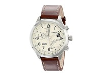Timex Intelligent Quartz Fly Back Chronograph Leather Strap Watch Brown Cream Silver Tone Watches