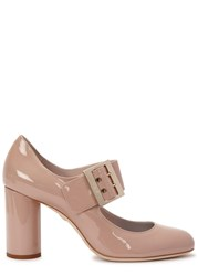 Lanvin Blush Patent Leather Mary Jane Pumps Nude