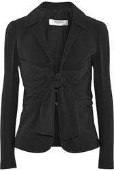 Valentino Draped Stretch Crepe Blazer Black