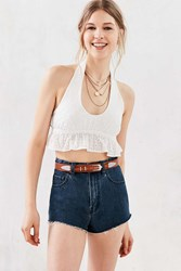 Cooperative Eyelet Halter Cropped Top White