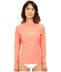 O'neill Tech 24 7 Long Sleeve Crew Light Grapefruit Women's Swimwear Orange