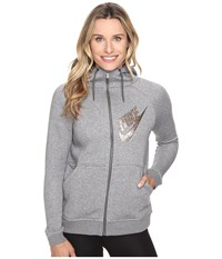 Nike Rally Full Zip Graphic Hoodie Carbon Heather Dark Grey Metallic Red Bronze Women's Sweatshirt Gray