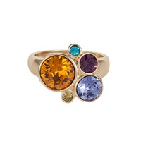 Aurora Multi Crystal Bubble Ring Gold