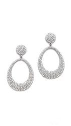 Shay Accessories Retro Pave Oval Earrings Silver Clear