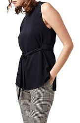 Women's Topshop Sleeveless Belted Tunic Top Navy Blue