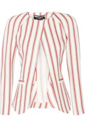 Pedro Del Hierro Madrid Striped Linen And Cotton Blend Blazer White