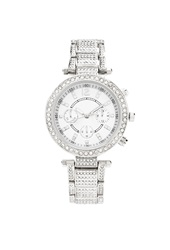 Forever 21 Rhinestone Encrusted Chronograph Watch Silver Clear