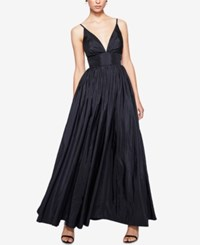 Fame And Partners V Neck Dress With Full Skirt Black