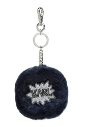 Karl Lagerfeld Rabbit Fur Keychain Blue