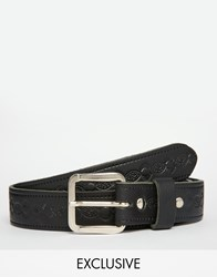 Reclaimed Vintage Belt In Leather With Embossed Design Black