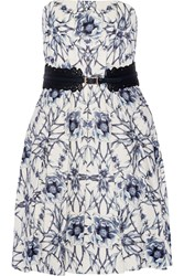 Marchesa Belted Printed Cotton And Silk Blend Mini Dress White