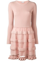Red Valentino Tulle Detail Knit Dress Nude And Neutrals