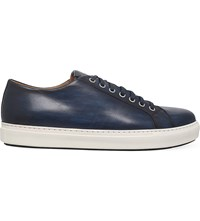 Magnanni Burnished Leather Trainers Blue