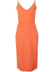 Narciso Rodriguez V Neck Sleeveless Midi Dress Yellow And Orange