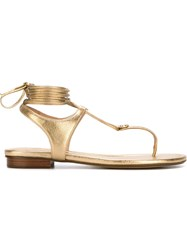 Michael Michael Kors Tie Up Flat Sandals Metallic