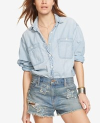 Denim And Supply Ralph Lauren Chambray Boyfriend Workshirt Blue