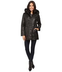 Calvin Klein Waxy Rain Anorak With Detachable Faux Fur Hood Black Women's Coat