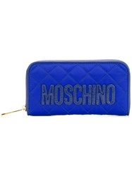 Moschino Quilted Logo Wallet Blue