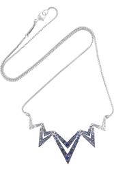 Stephen Webster Lady Stardust 18 Karat White Gold Sapphire And Diamond Necklace