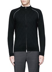 Armani Collezioni Diamond Motif Wool Zip Cardigan Black