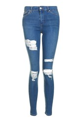 Topshop Moto Mid Blue Super Rip Leigh Jeans Mid Stone
