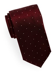 Hugo Mixed Pattern Silk Tie Dark Red