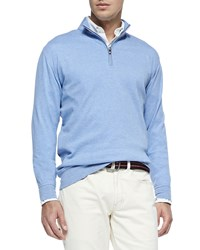 Peter Millar Cotton Blend 1 2 Zip Pullover Elixir Blue