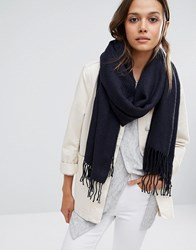 Pieces Woven Herringbone Scarf With Tassels In Navy Navy Blazer