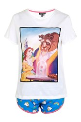 Topshop Petite Beauty And The Beast Pyjamas White